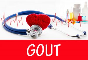 The diagnosis of gout. Phonendoscope and vaccine with drugs. Medical concept.