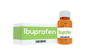 "3D illustration of ""Ibuprofen"" title on pill bottle isolated on white."